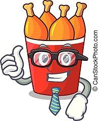 Businessman fried chicken in red bucket cartoon