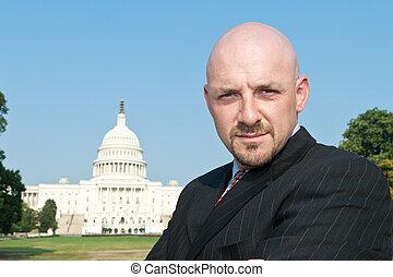Businessman Front U.S. Capitol Washington DC USA