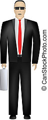 Businessman. Front view. Vector - Serious businessman in...
