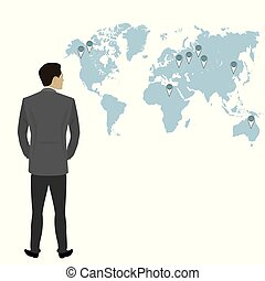 Businessman full length back view isolated , world map on...