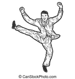 Businessman funny jumping for joy. Sketch scratch board imitation. Black and white. Engraving vector illustration.