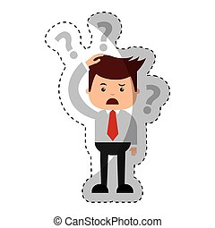 businessman funny with Doubt series character icon vector...