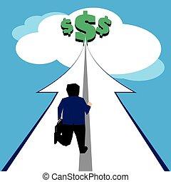 Businessman gaining wealth