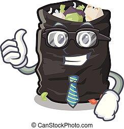 Businessman garbage bag in the cartoon shape vector illustration