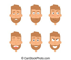 Businessman generation of various expressions. Emotions faces vector characters.