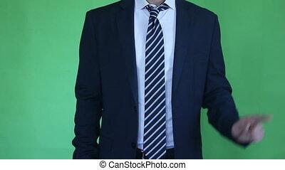 businessman gesture green screen