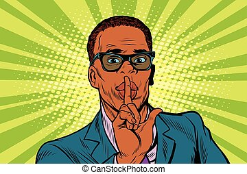 Businessman gesture Shh silence, pop art retro vector...