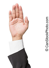 businessman gesturing with his hand isolated on a white