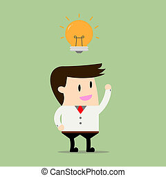 Businessman Get an Idea. Business concept cartoon illustration