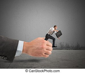 Businessman get away - Businessman trying to get away from...