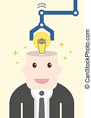 Businessman get light bulb in head with idea concept