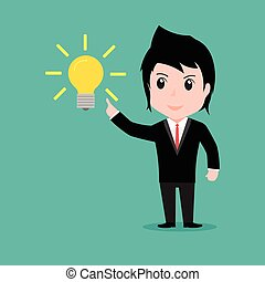Businessman get something idea, cartoon vector EPS10