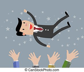 businessman get thrown into the air