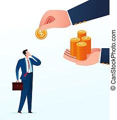 Businessman get unfair business sharing from his partner. Business concept vector illustration.