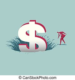 Businessman gets wealth from the trap. Isolated on blue background.