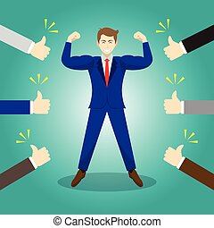 Vector Illustration Business Concept As A Strong Businessman Is Standing And Thumbs Up From Others. He Is Proud Of Himself And He Is Admired, Praised, Respected, Cheered And Full Of Social Esteem.