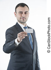 Businessman give business card