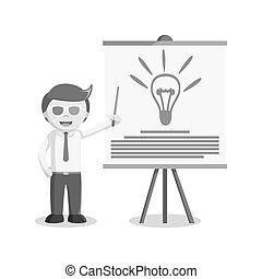 businessman giving 3d presentation black and white style