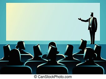 Businessman giving a presentation on big screen