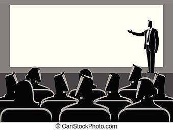 Businessman giving a presentation on big screen