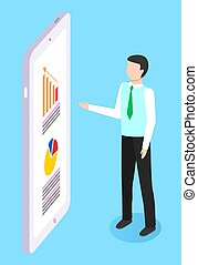 Businessman giving a presentation on board with charts and graphs, marketing concept illustration