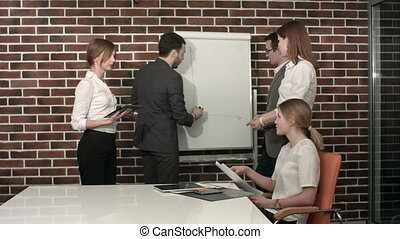 Businessman giving a presentation on flipchart. Teamwork...