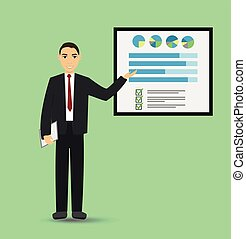 Businessman giving a presentation with banner. Infographic on office board. Business concept