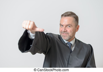 Businessman giving a thumbs to side gesture of equality,...