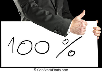 Businessman giving a thumbs up for 100 percent