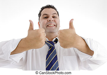businessman giving acceptance with thumbs up hand gesture
