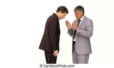 Businessman giving an explanation to his employee