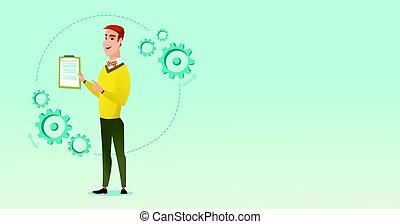 Businessman giving business presentation.
