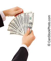 Businessman giving cash dollars in the hands