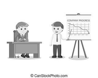 businessman giving decreased progress presentation black and white color style