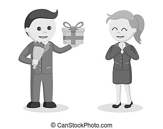 Businessman giving flowers and gift to businesswoman