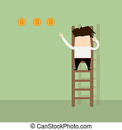 Businessman giving gold coin by climbing stairs.Business Concepts vector