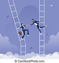 Businessman giving hand to help another businesswoman who is on broken ladder-Help and support concept