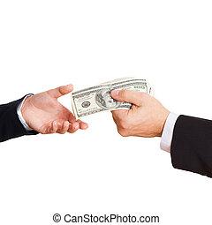 Businessman giving money cash dollars in hands - businessman...