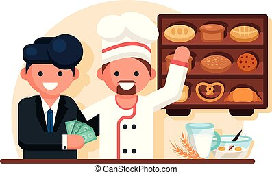Businessman giving money man chef in bakery shop.