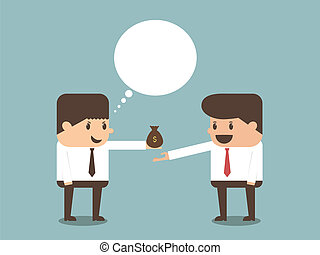 businessman giving money to other businessman vector eps10