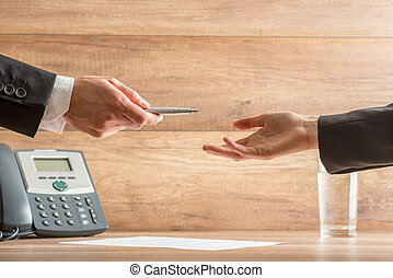 Businessman Giving Pen to Partner to Sign Contract