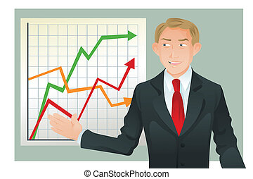 Businessman giving presentation - A vector illustration of a...
