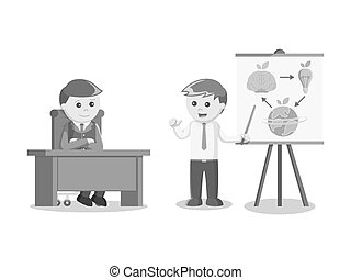 businessman giving presentation about his green idea black and white color style