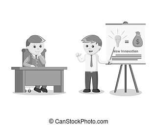 businessman giving presentation about his brand new idea and new innovation black and white color style