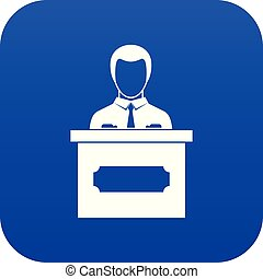 Businessman giving presentation icon digital blue