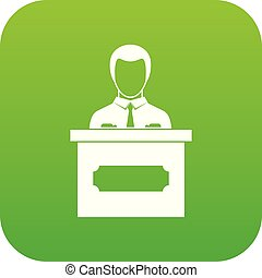 Businessman giving presentation icon digital green