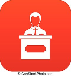 Businessman giving presentation icon digital red