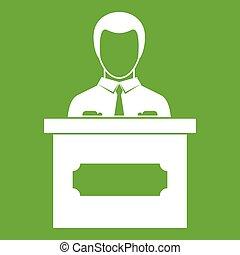 Businessman giving presentation icon green
