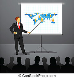 Businessman giving Presentation - illustration of ...