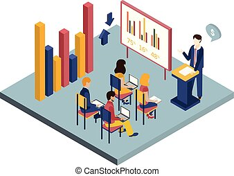 Businessman giving presentation to employees in office conference room, modern office interior vector illustration